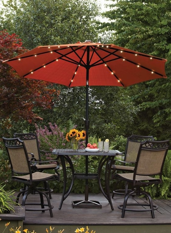Most Current Patio Umbrellas With Led Lights Pertaining To This Umbralla Features Battery Operated Led Lights For A Bit Of (View 3 of 15)