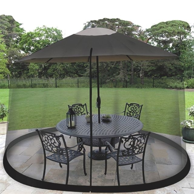 Most Current Patio Umbrellas With Netting Regarding Outdoor Mosquito Net Patio Umbrella Bug Screen Gazebo Canopy Insect (View 5 of 15)