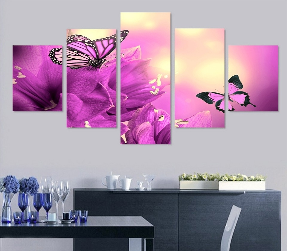 Most Current Purple Wall Art Canvas Within 5 Piece Purple Butterfly Flowers Wall Art Canvas Pictures Photo On (View 12 of 15)