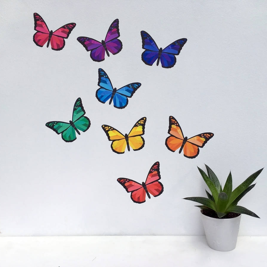 Most Current Rainbow Butterfly Wall Stickerschameleon Wall Art Within Butterfly Wall Art (View 6 of 15)