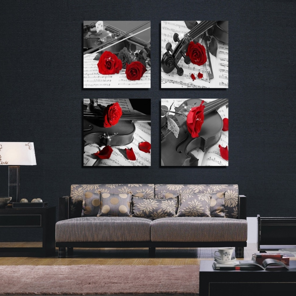 Most Current Red And Black Canvas Wall Art Inside 4 Pieces Rose Black And White Canvas Abstract Flower Painting Room (View 11 of 15)