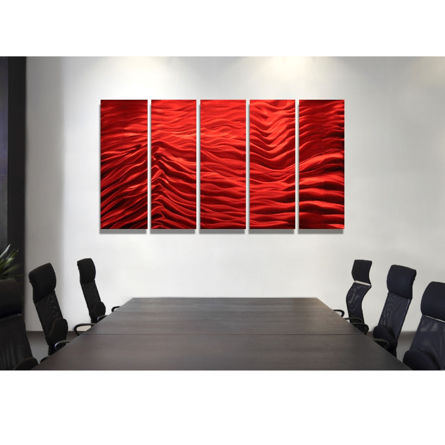 Most Current Red Inertia – Red Metal Wall Art – 5 Panel Wall Décorjon Allen For Panel Wall Art (View 5 of 15)