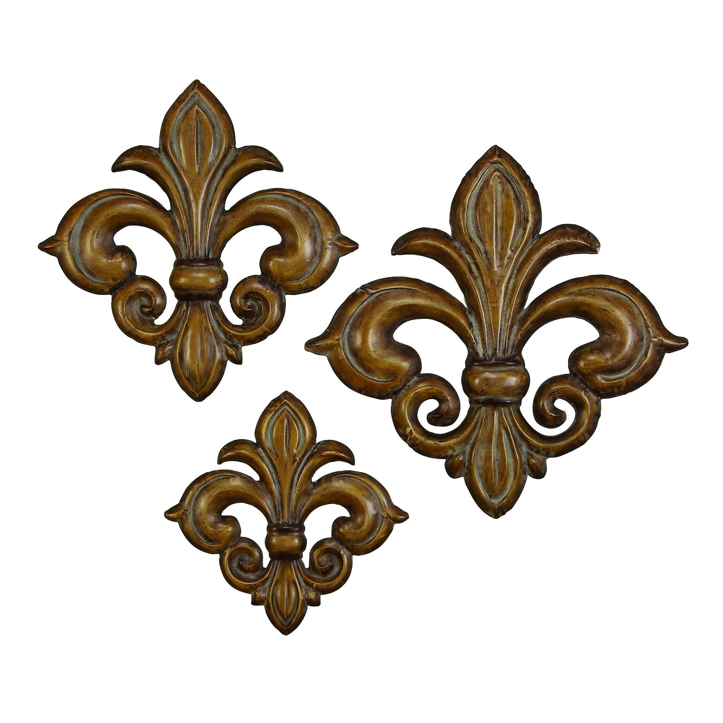 Most Current Shop Studio 350 Metal Wall Decor Set Of 3, 22 Inches ,19 Inches ,15 Throughout Fleur De Lis Wall Art (View 4 of 15)
