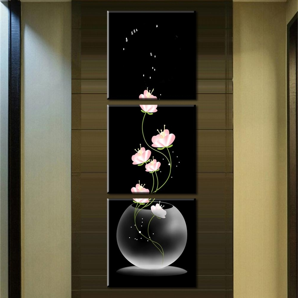 Most Current Vertical Wall Art In 3 Pcs/set Abstract Art Modern Wall Paintings Flowers Porch Vertical (View 7 of 15)
