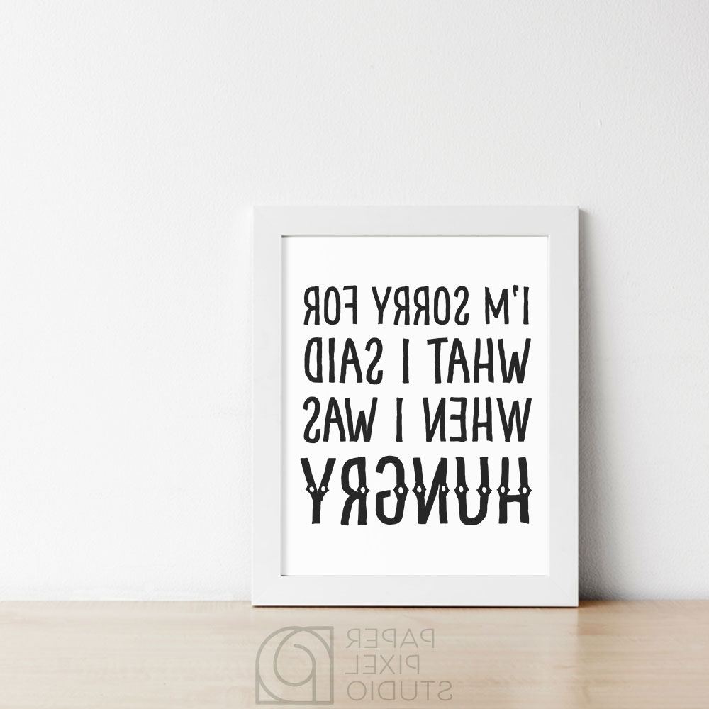 Most Current Wall Art For Kitchen With Funny Printable, Kitchen Wall Art, Printable Wall Art, Hangry Art (View 6 of 15)