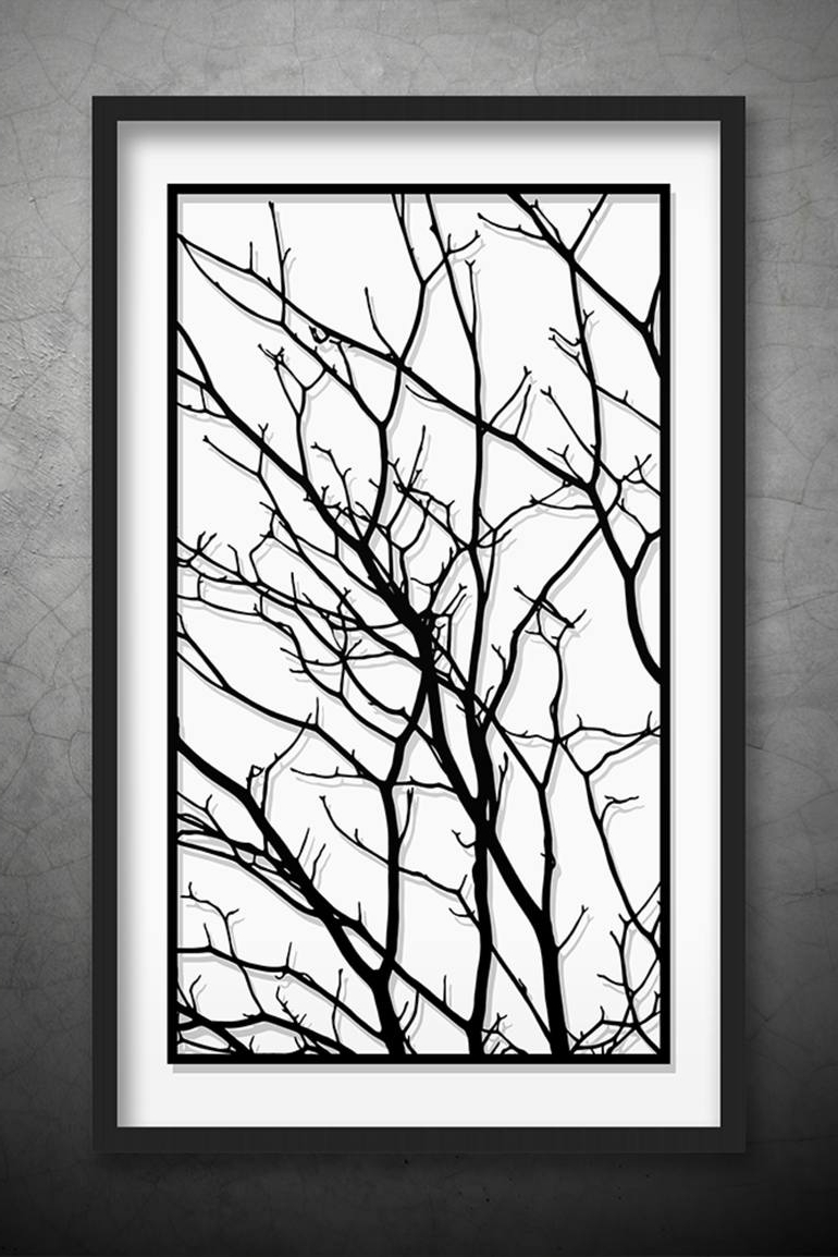 Most Current White Wall Art With Saatchi Art: Tree Branches Original Paper Cut Art, Black And White (View 6 of 15)