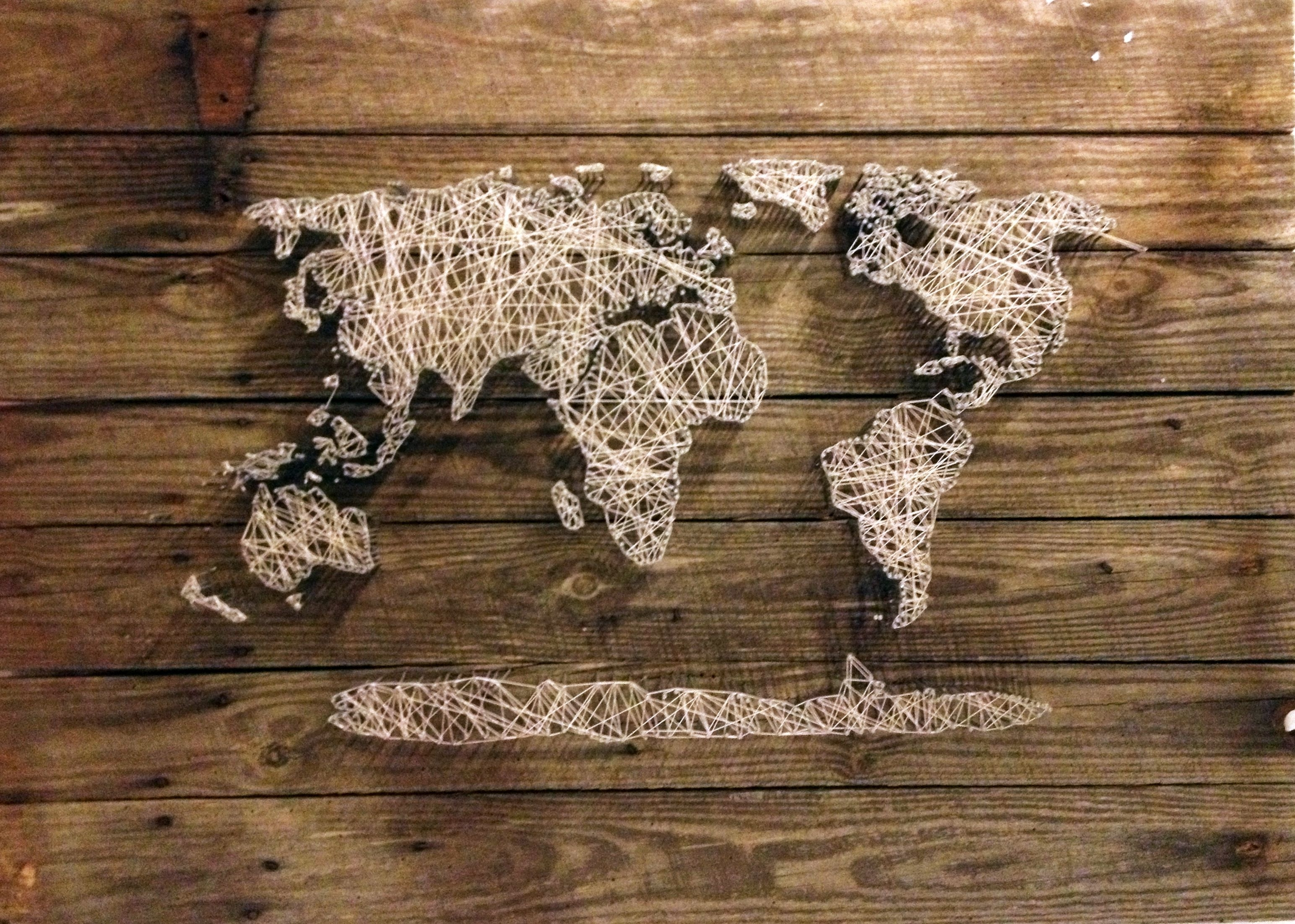 Most Current World Map, String Art (View 4 of 15)