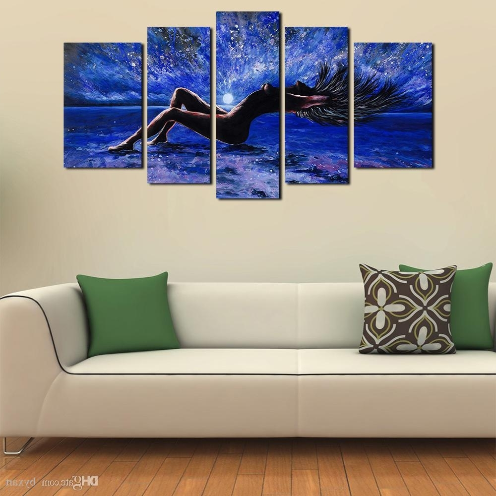 Most Popular 2018 5 Panels Sexy Girl Abstract Canvas Wall Art Women Naked Figure Inside Canvas Wall Art (View 8 of 15)