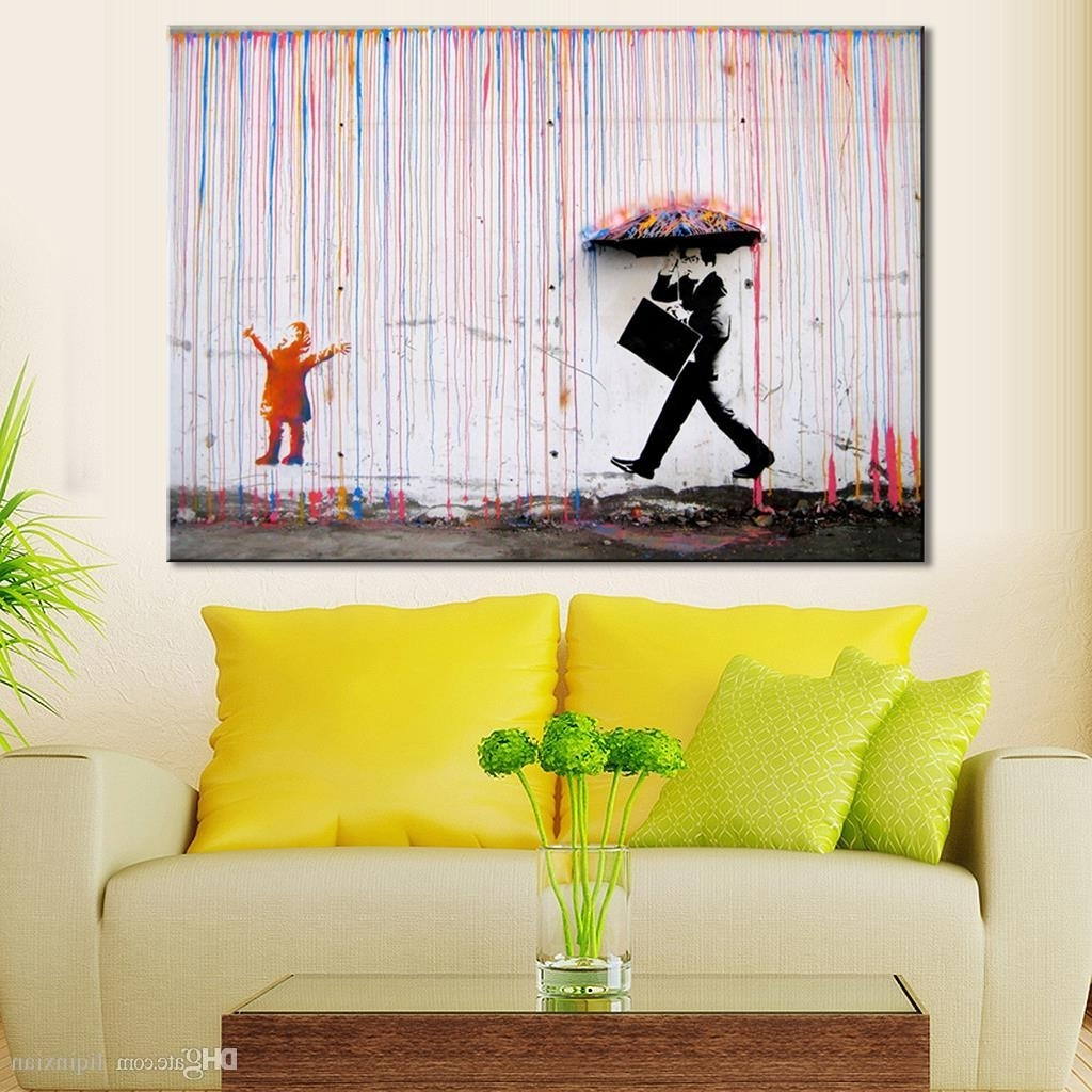 Most Popular 2018 Banksy Art Life Colorful Rain Living Room Abstract Figure Oil Regarding Wall Art For Living Room (View 5 of 15)