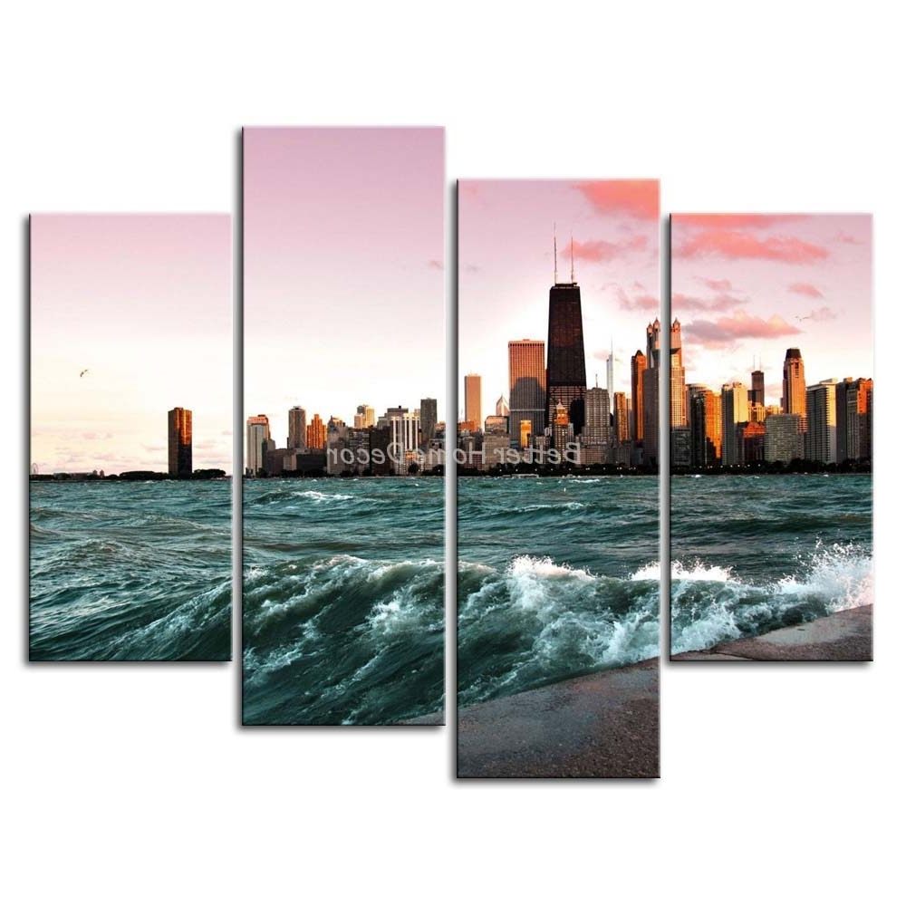 Most Popular 3 Piece Wall Art Painting Chicago And Lake Michigan Picture Print On For Chicago Wall Art (View 1 of 15)
