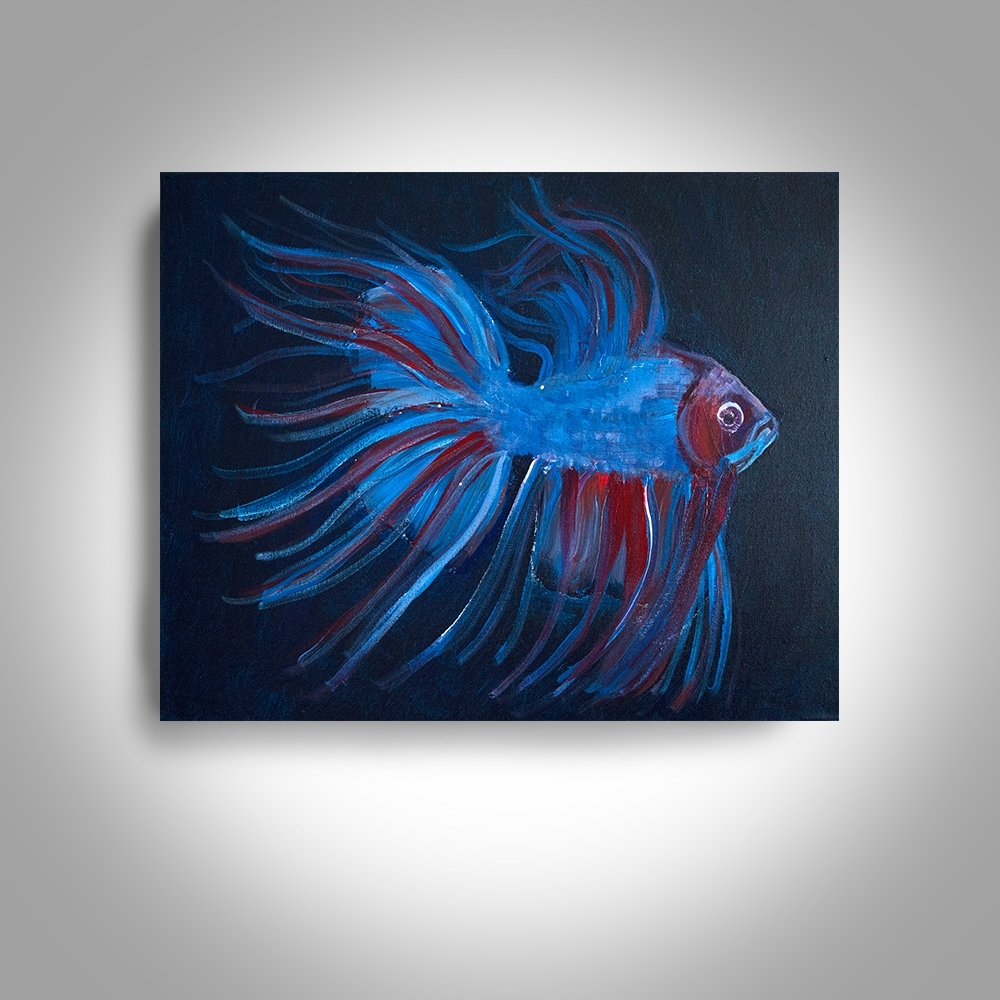 Most Popular Acrylic Fighting Fish – 20 X16 Canvas Painting, Wall Art, Home Decor With Regard To Fish Painting Wall Art (View 3 of 15)