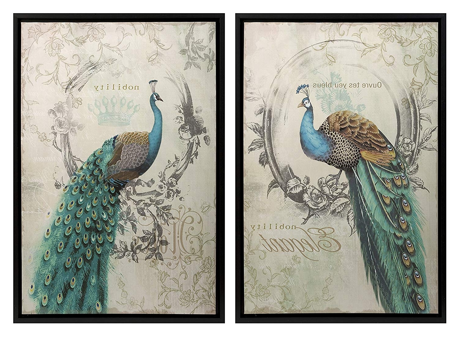 Most Popular Amazon: Panache Peacock Art – Set Of 2: Wall Decor Stickers With Wall Art Sets (View 15 of 15)