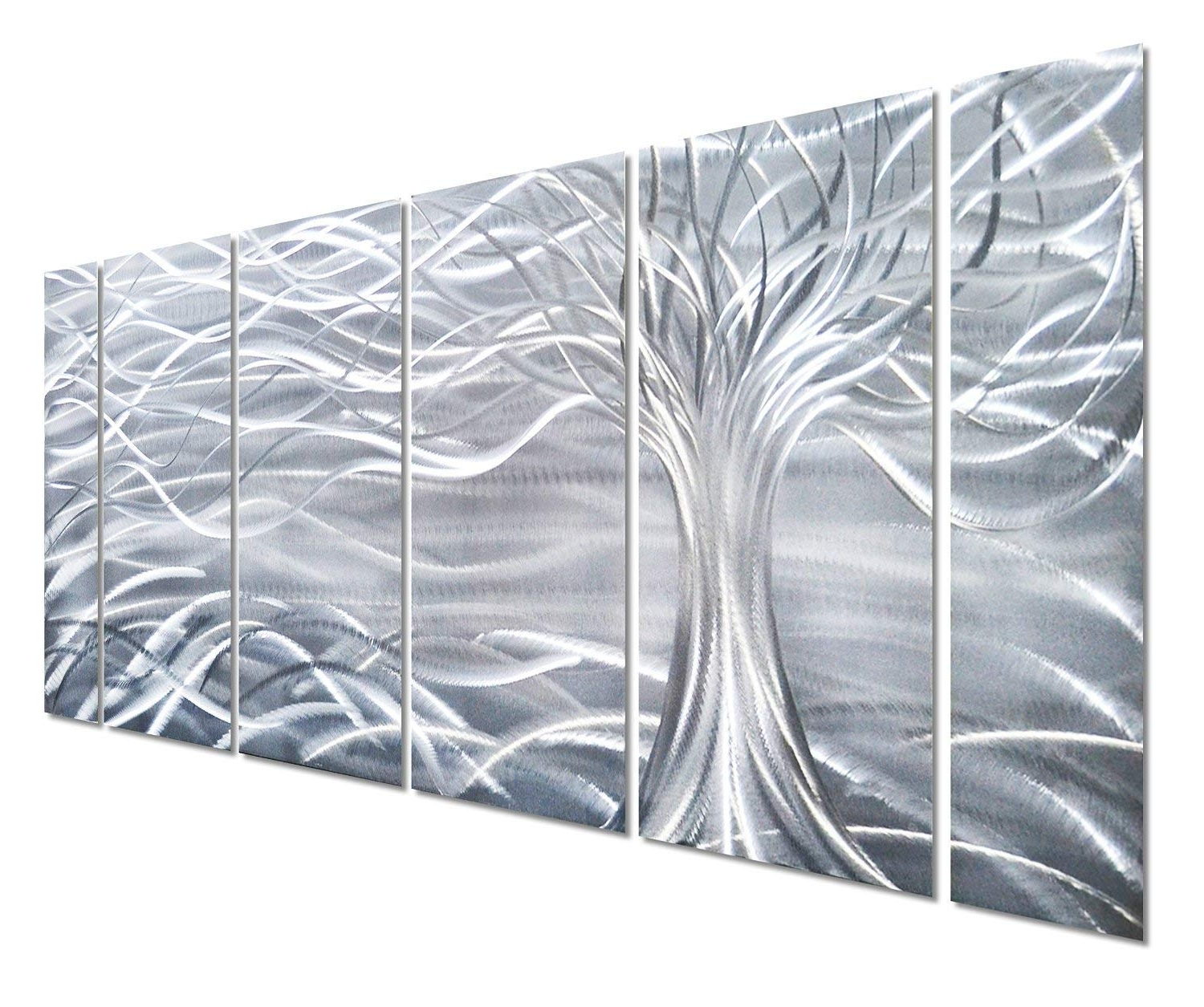 Most Popular Amazon: Pure Art Willow Tree Of Life Metal Wall Art, Abstract With Regard To 3D Metal Wall Art (View 6 of 15)