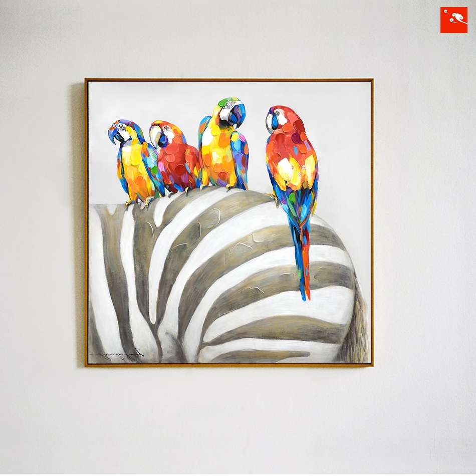 Most Popular Animal Canvas Wall Art Pertaining To Animal Wall Art Elephant Zebra Abstract Parrot Hand Painted Oil (View 6 of 15)