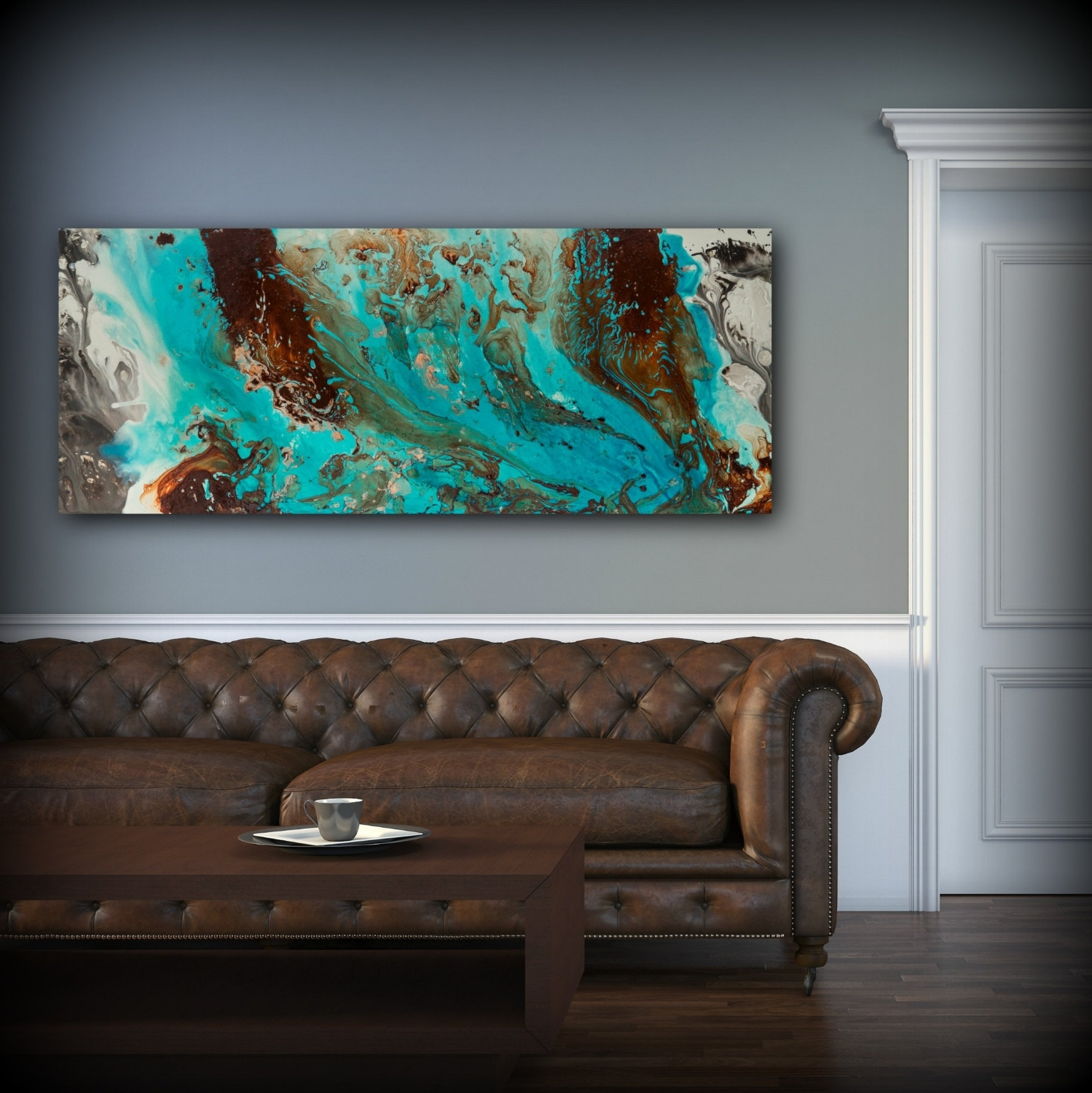 Most Popular Aqua Print, Blue And Brown Wall Art Decor, Colourful, Bohemian Art Pertaining To Teal And Brown Wall Art (View 1 of 15)