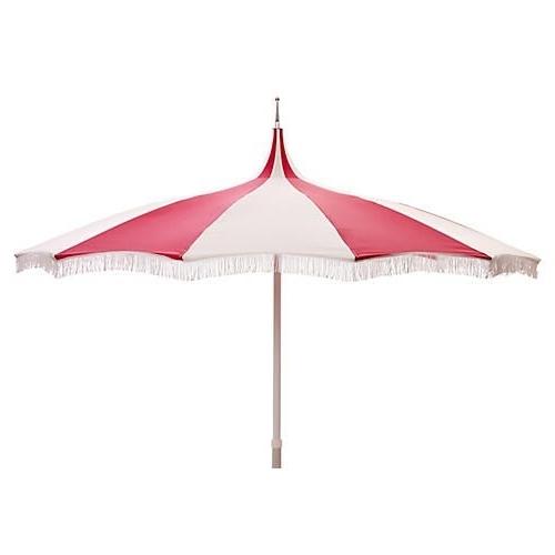 Most Popular Ari Pagoda Fringe Patio Umbrella, Hot Pink/white (View 2 of 15)