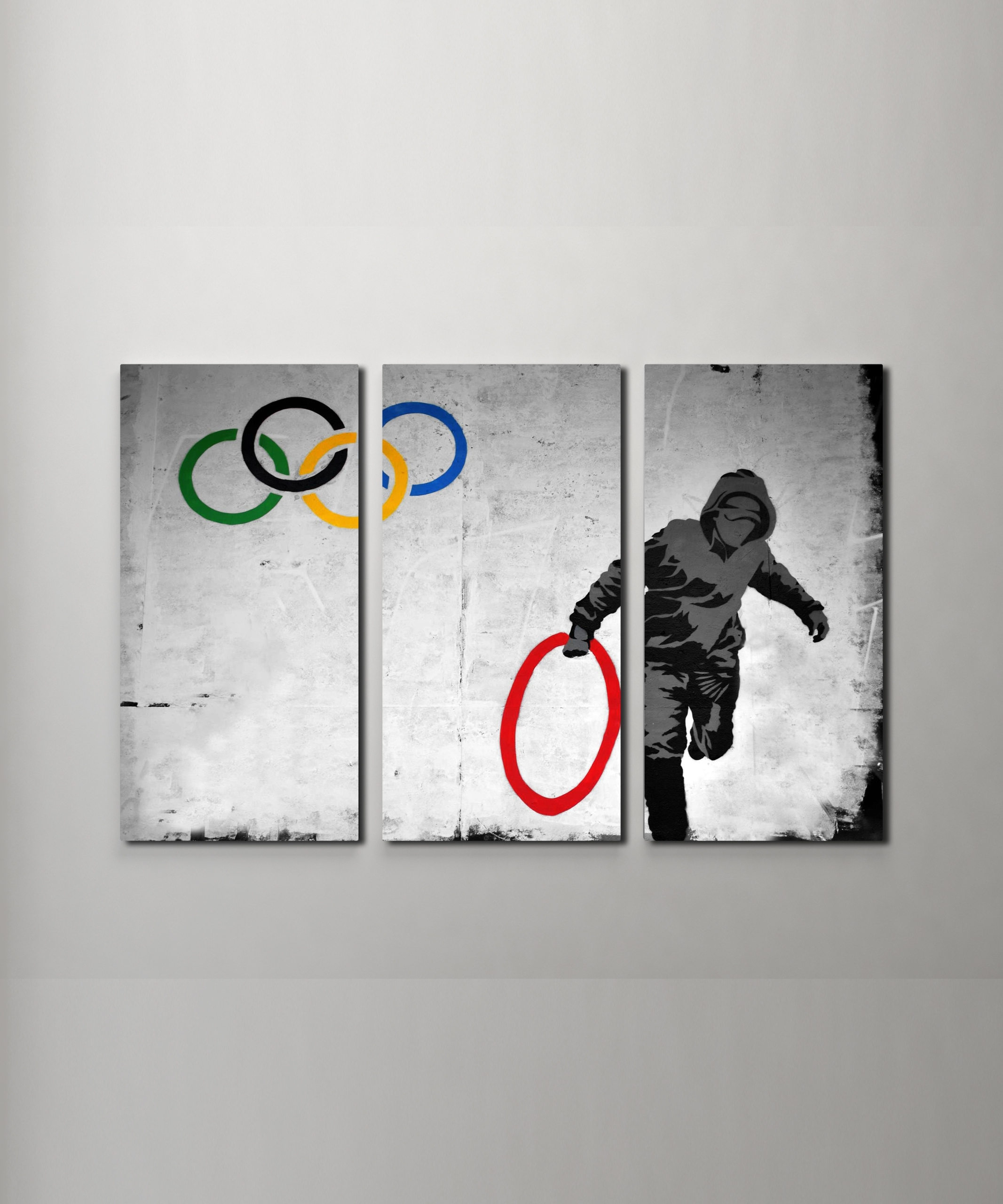 Most Popular Banksy Stolen Olympic Rings Canvas Triptych Wall Art Inside Triptych Wall Art (View 10 of 15)
