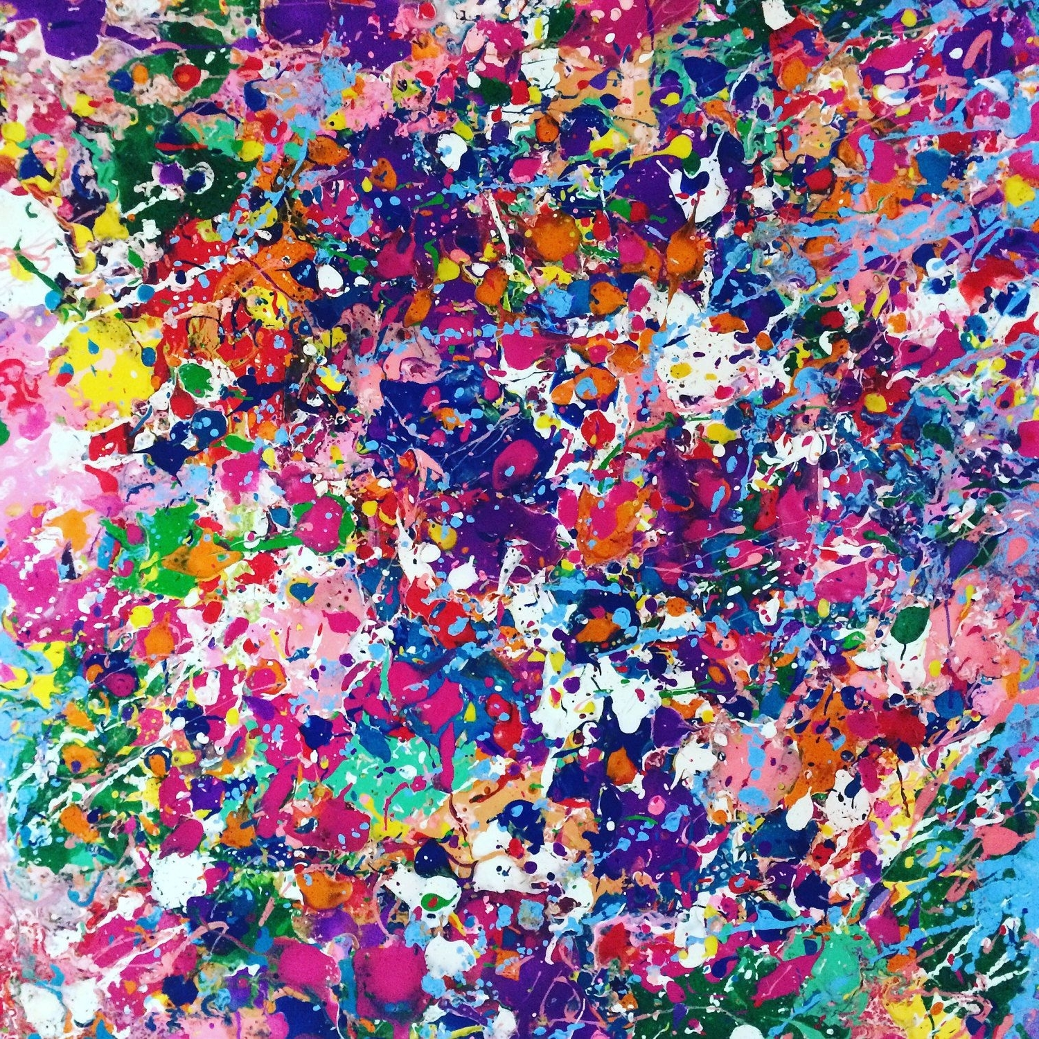 Most Popular Colorful Wall Art Intended For Abstract Canvas Art Splatter Painting Colorful Painting Large Wall (View 3 of 15)