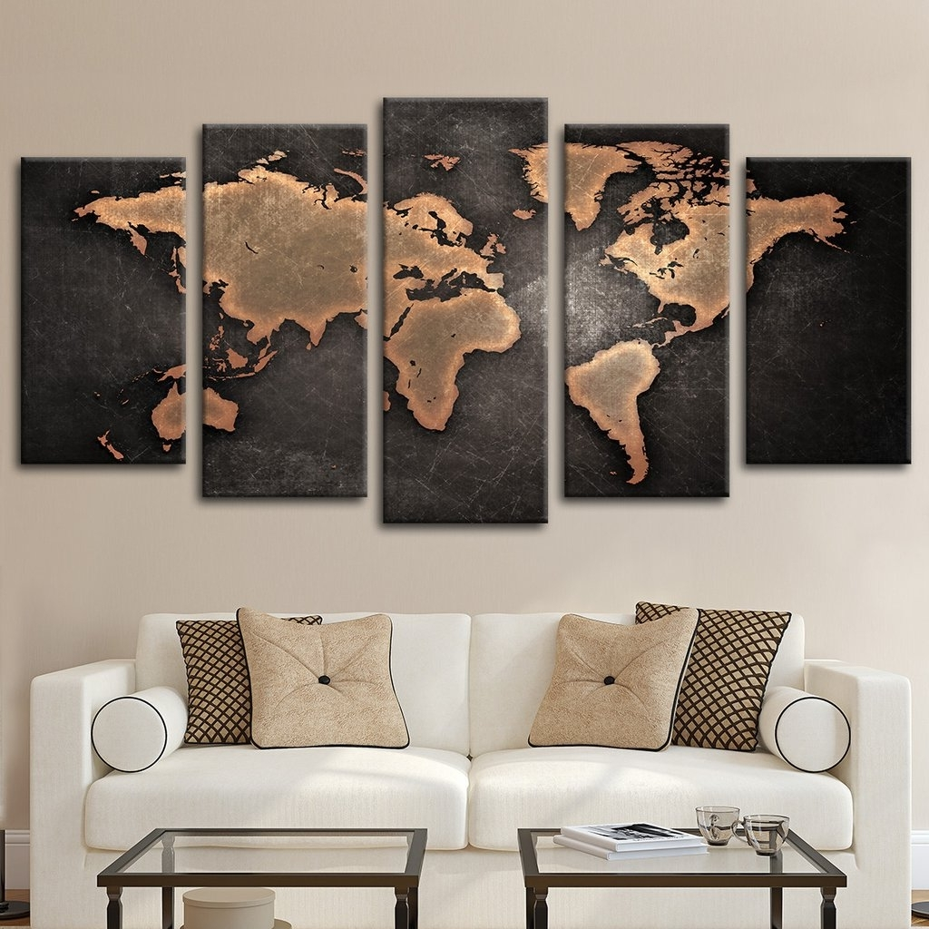 Most Popular Copper World Map Multi Panel Canvas Wall Art Elephantstock With Inside Maps Wall Art (View 11 of 15)