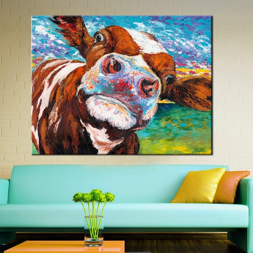 Most Popular Cow Canvas Wall Art With 2018 Wall Art Oil Painting Butiful Cow Posters And Prints Wall (View 11 of 15)