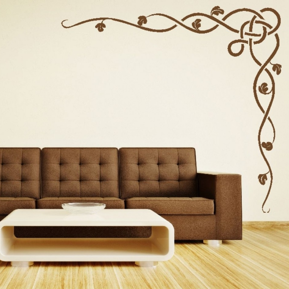 Most Popular Decoration Ideas: Casual Living Room Decoration Using Brown Stencil With Regard To Stencil Wall Art (View 6 of 15)