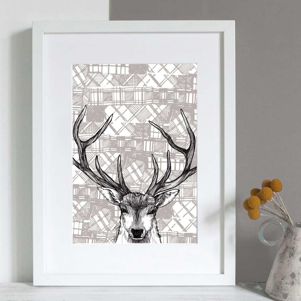 Most Popular Deer Canvas Wall Art In Gillian Kyle Scottish Wall Art Tartan Stag Canvas Print (View 9 of 15)