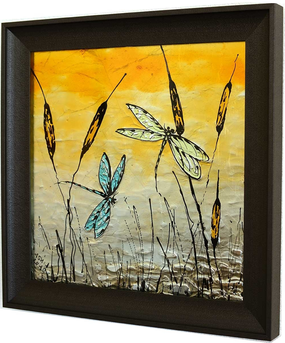 Most Popular Dragonfly Painting Wall Art For Dragonfly Art Glass Tile – Painted Pictures Of Dragonflies (View 2 of 15)
