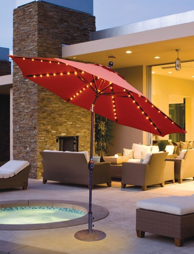 Most Popular Galtech 9' Aluminum Auto Tilt Patio Umbrella With Led Umbrella Intended For Sunbrella Patio Umbrella With Lights (View 5 of 15)