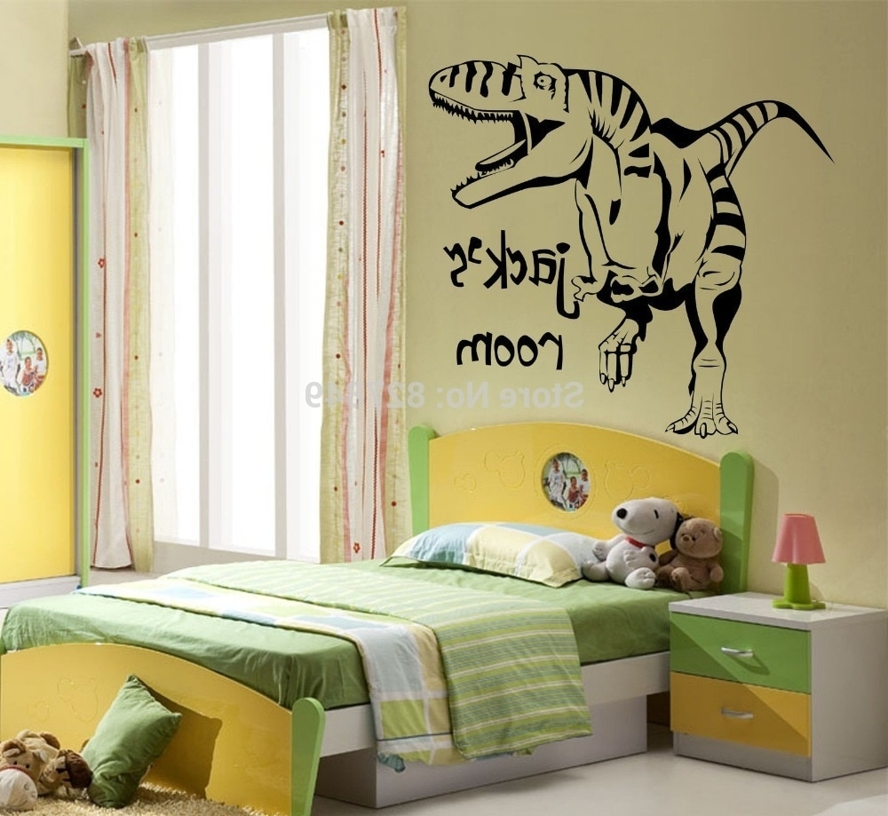Most Popular Giant Wall Art Regarding Kids Room Vinyl Wall Stickers Personalised Dinosaur Giant Wall Art (View 11 of 15)