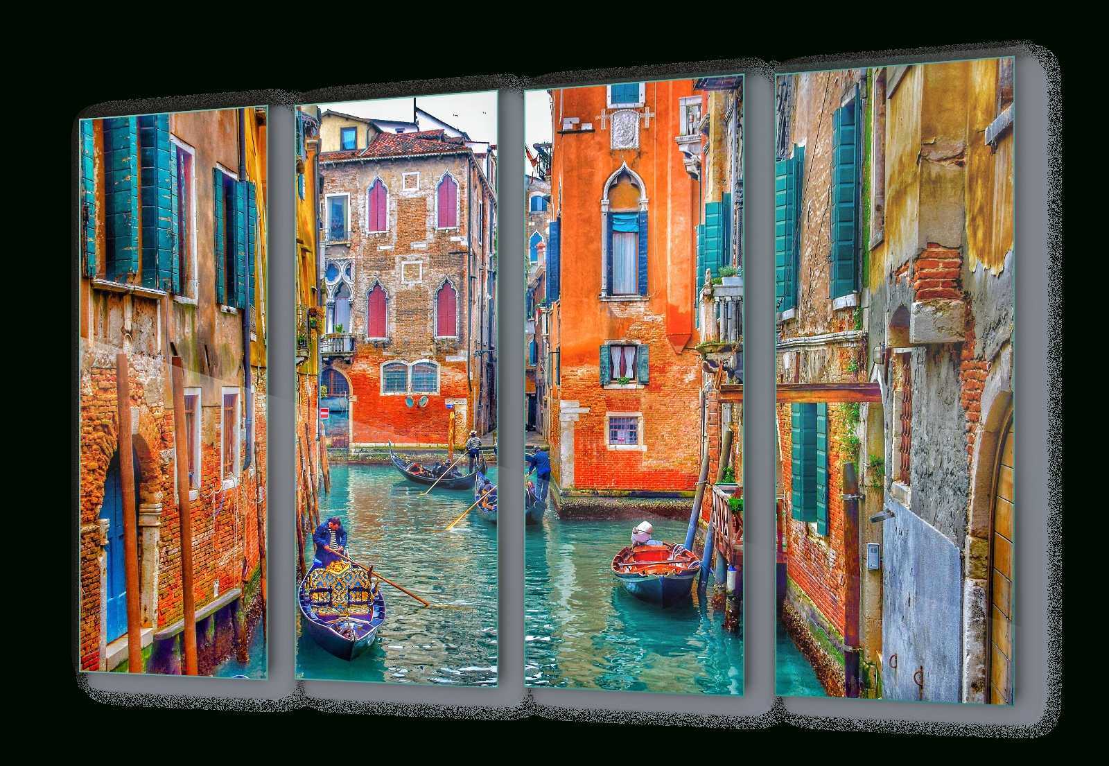 Most Popular Glass Wall Art Regarding Venice Italy Canal Colours Canvas & Glass Wall Art Pictures (Fw  (View 10 of 15)