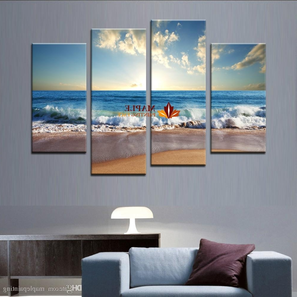 Most Popular Large Canvas Art Wall Hot Beach Seascape Modern Wall Painting Home Throughout Large Canvas Painting Wall Art (View 9 of 15)
