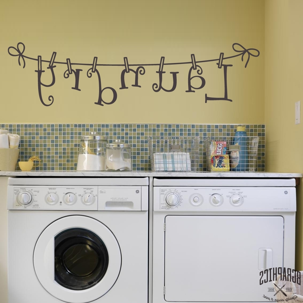 Most Popular Laundry Room Wall Art Inside Laundry Room Washing Line Wall Art – Bgraphics (View 8 of 15)