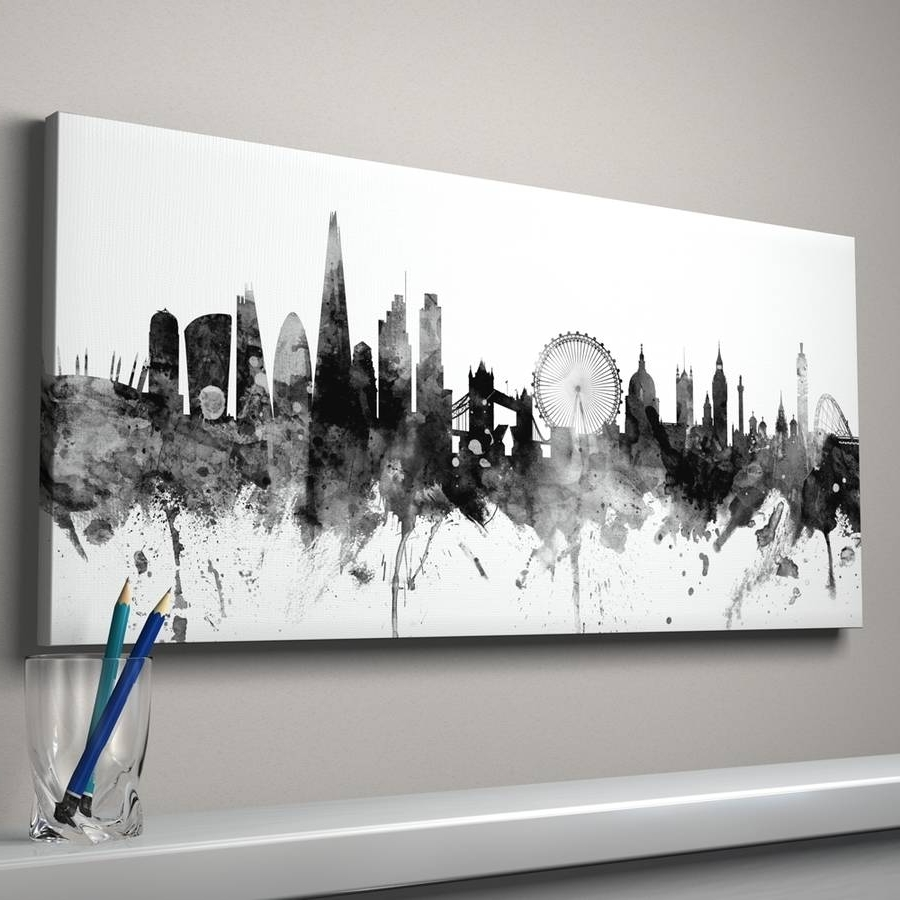 Most Popular London Wall Art Inside London Skyline Cityscape England Art Printartpause (View 11 of 15)