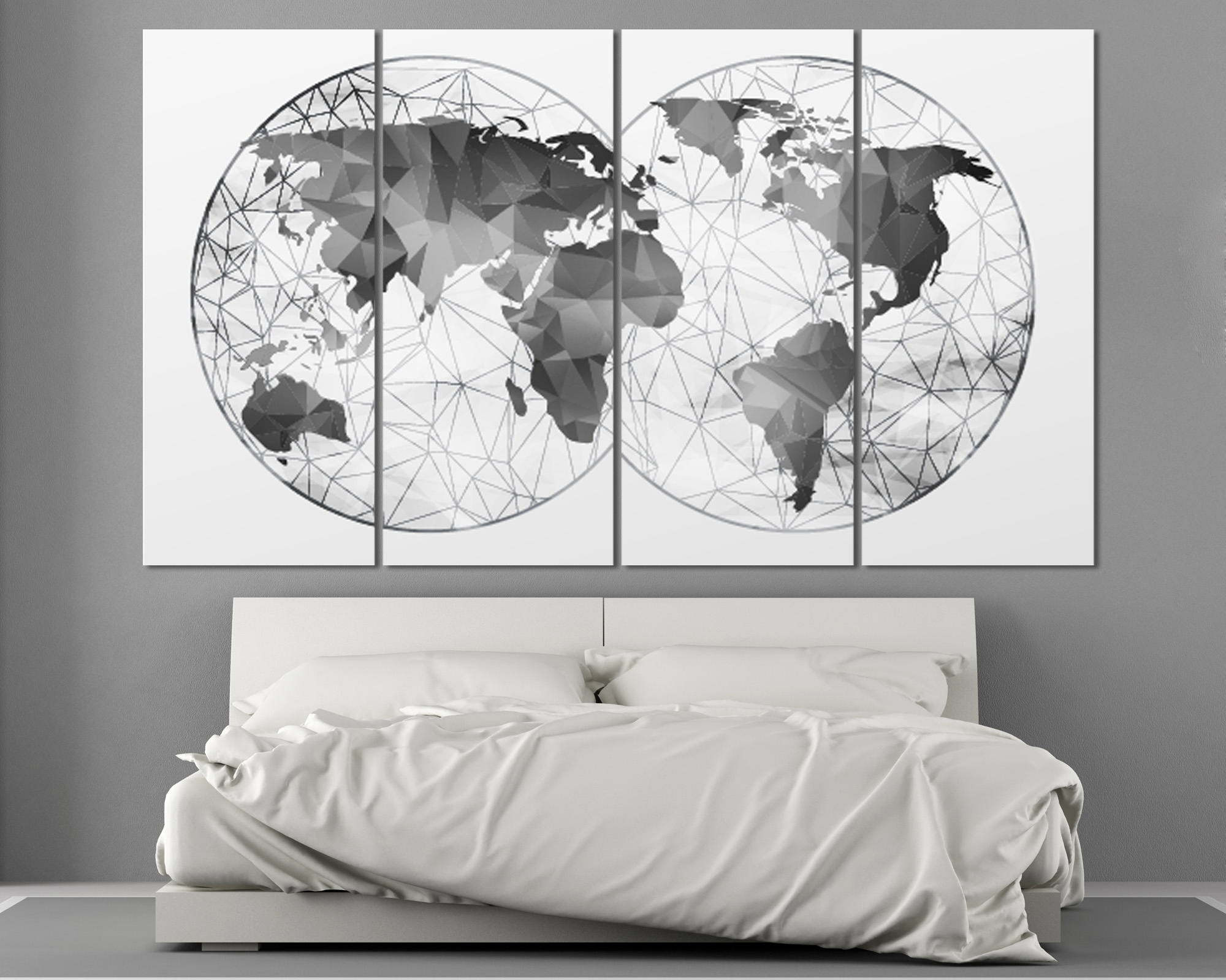 Most Popular Map Wall Art Prints Throughout Double Hemisphere Black & White Abstract World Map At Texelprintart (View 8 of 15)