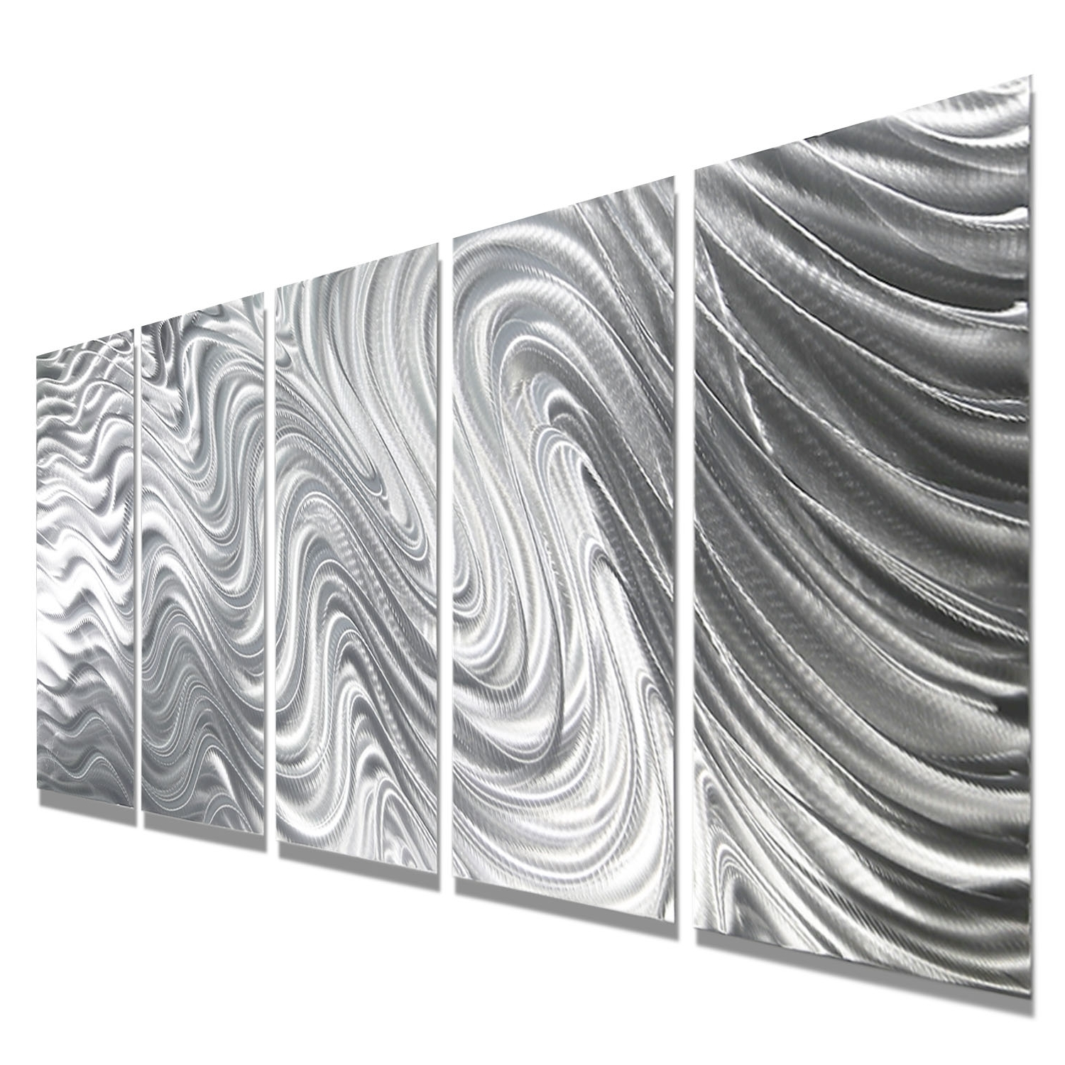 Most Popular Mirage – Silver Metal Wall Art – 5 Panel Wall Décorjon Allen With Regard To Silver Metal Wall Art (View 12 of 15)