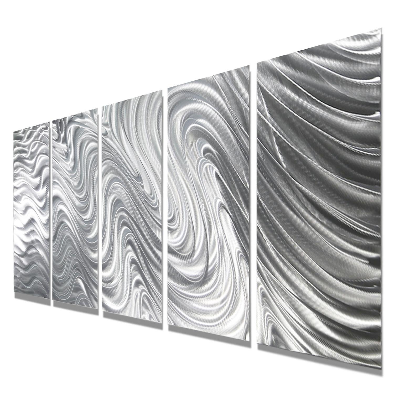 Most Popular Mirage – Silver Metal Wall Art – 5 Panel Wall Décorjon Allen With Regard To Silver Metal Wall Art (View 12 of 15)