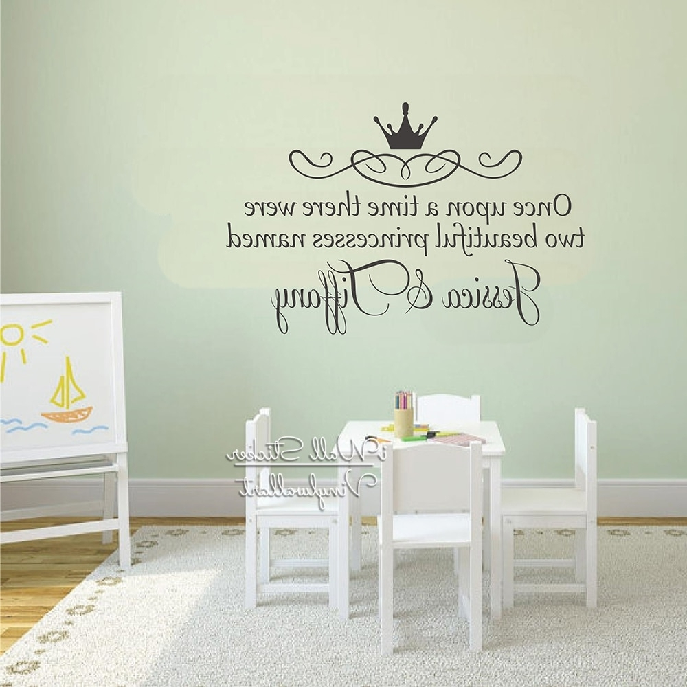 Most Popular Name Wall Art Regarding Custom Twins Name Wall Sticker Girls Name Wall Art Decal Children (View 11 of 15)