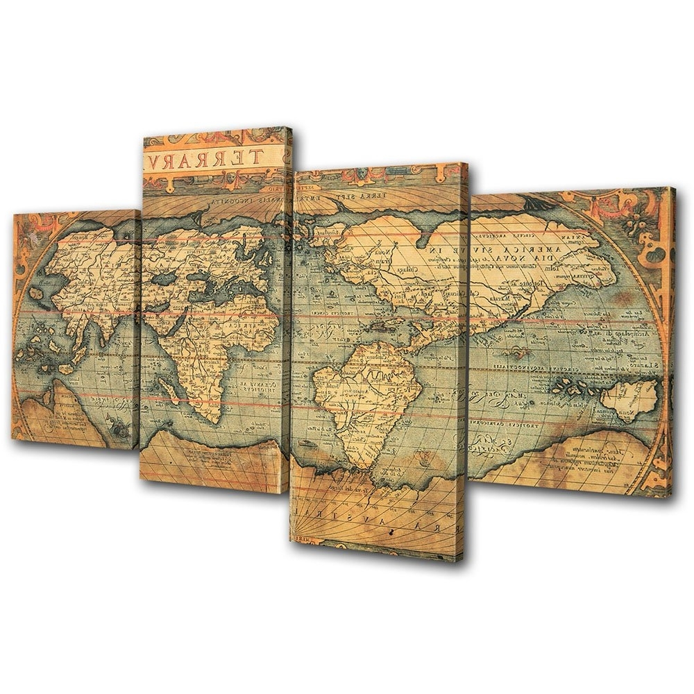 Most Popular Old World Map Wall Art Regarding Old World Maps On Canvas: Amazon.co (View 3 of 15)