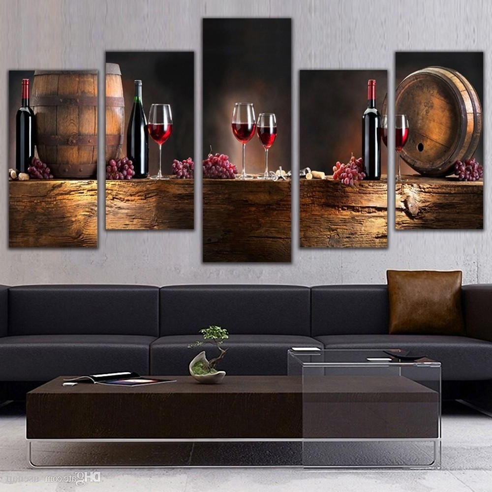 Most Popular Online Cheap 5 Panel Wall Art Fruit Grape Red Wine Glass Picture Art Regarding Wall Art For Kitchen (View 11 of 15)