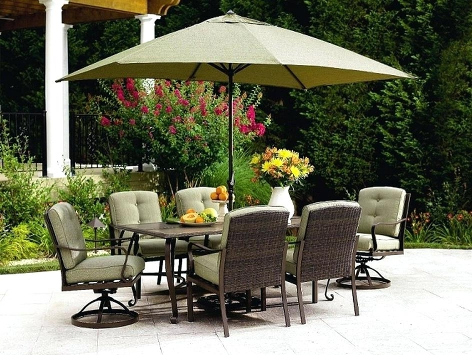 Most Popular Patio Dining Umbrellas In 5 Piece Outdoor Dining Set With Round Glass Top Table And Contoured (View 13 of 15)