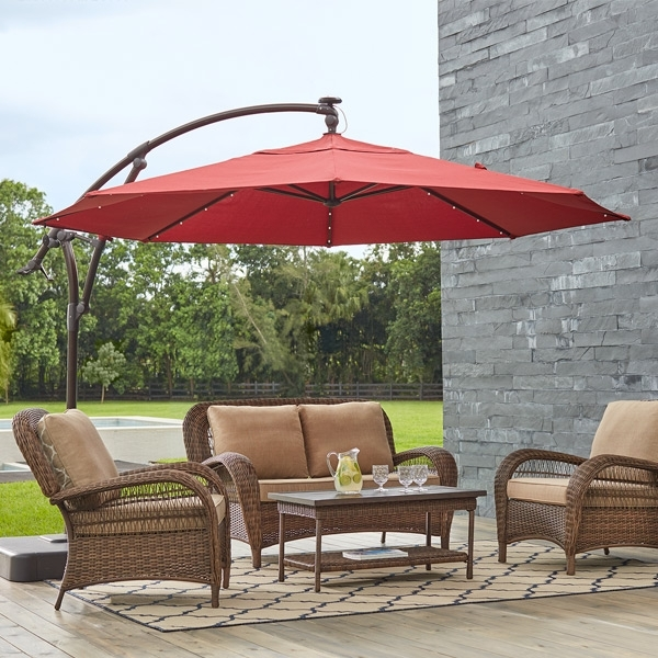 Most Popular Patio Umbrellas – The Home Depot With Patio Umbrellas With Lights (View 9 of 15)