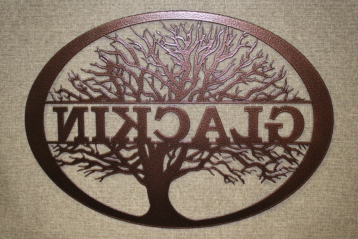 Most Popular Personalized Metal Wall Art In Personalized Monogram Wall Decor Inspirational Family Tree (View 6 of 15)