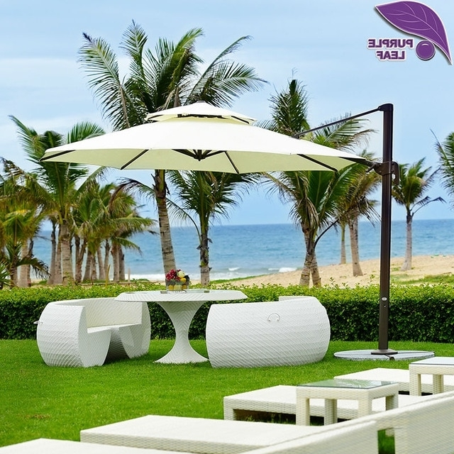 Most Popular Purple Leaf Patio Umbrella Offset Outdoor Market Beach Cafe Parasol With Regard To Offset Patio Umbrellas With Base (View 12 of 15)