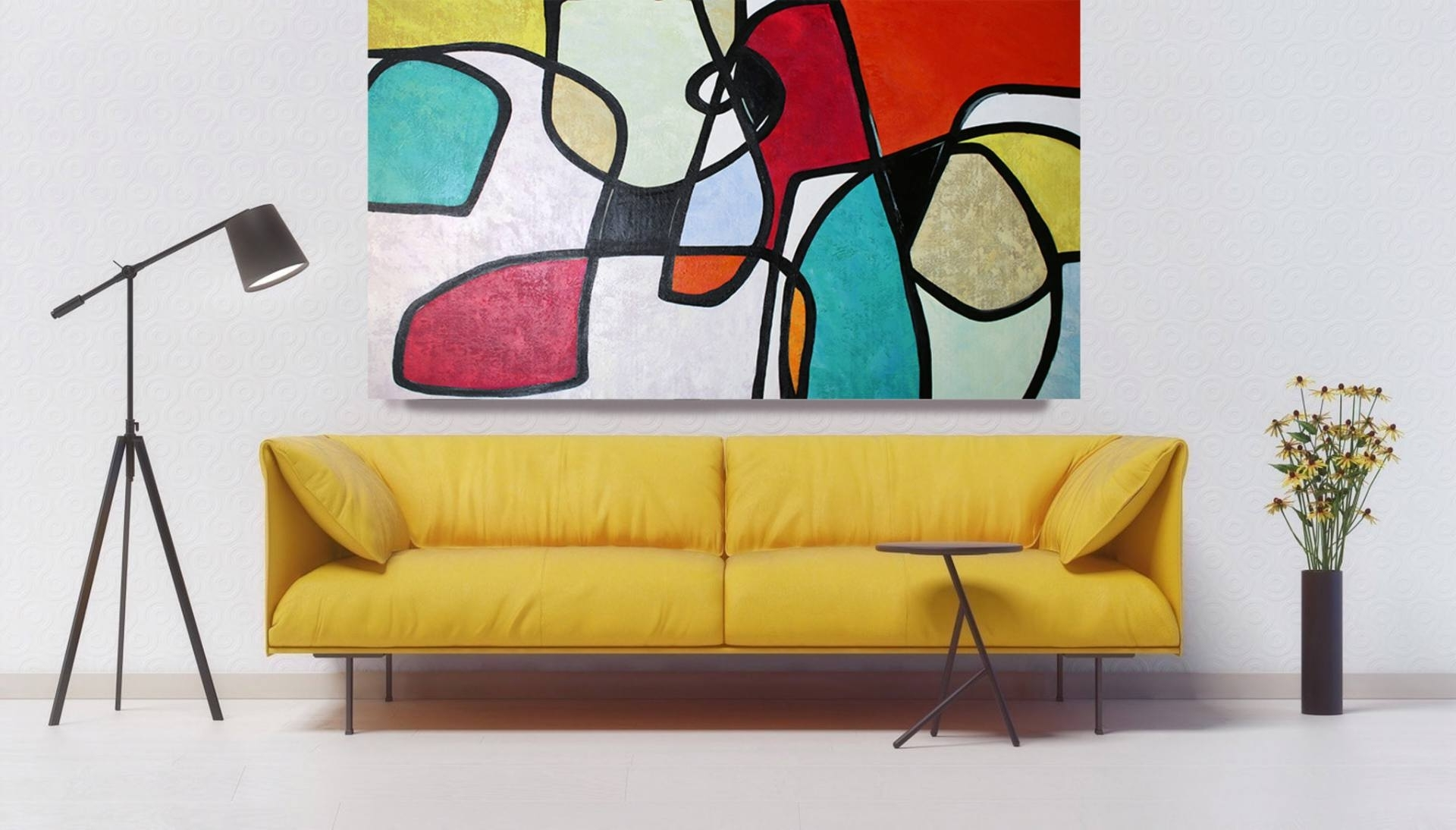 Most Popular Saatchi Art: Vibrant Colorful Mid Century Abstract 0 16 Original Oil Inside Mid Century Wall Art (View 10 of 15)