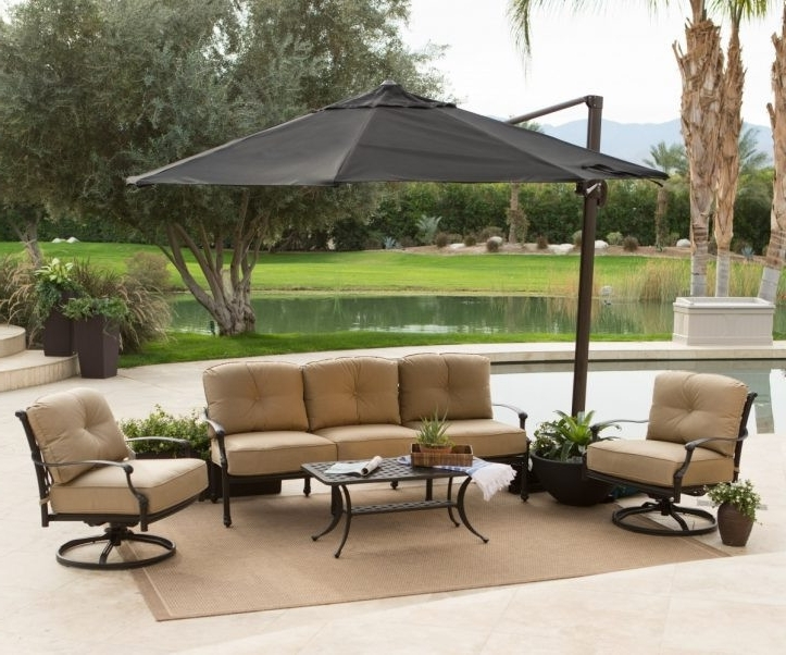 Most Popular Simply Shade Red Offset Patio Umbrella Lowes Umbrella Base Patio With Lowes Offset Patio Umbrellas (View 13 of 15)