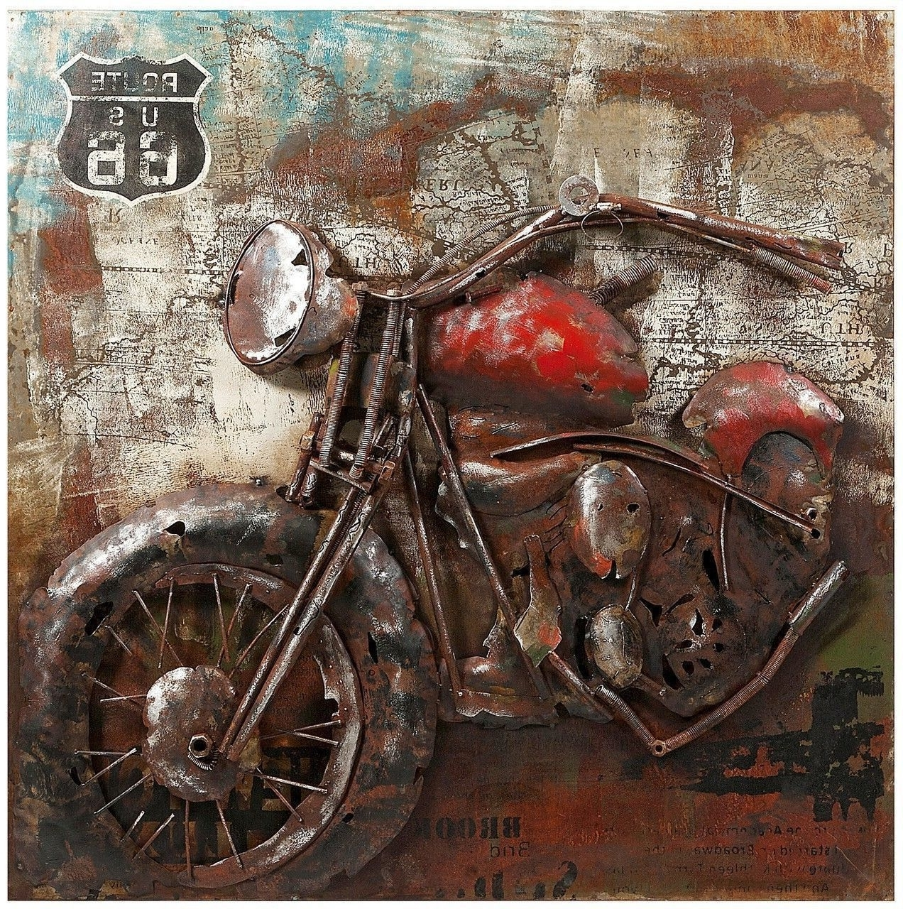 Most Popular Vintage Motorcycle Dimensional Wall Art, Route 66 Biker Picture Regarding Motorcycle Wall Art (View 10 of 15)