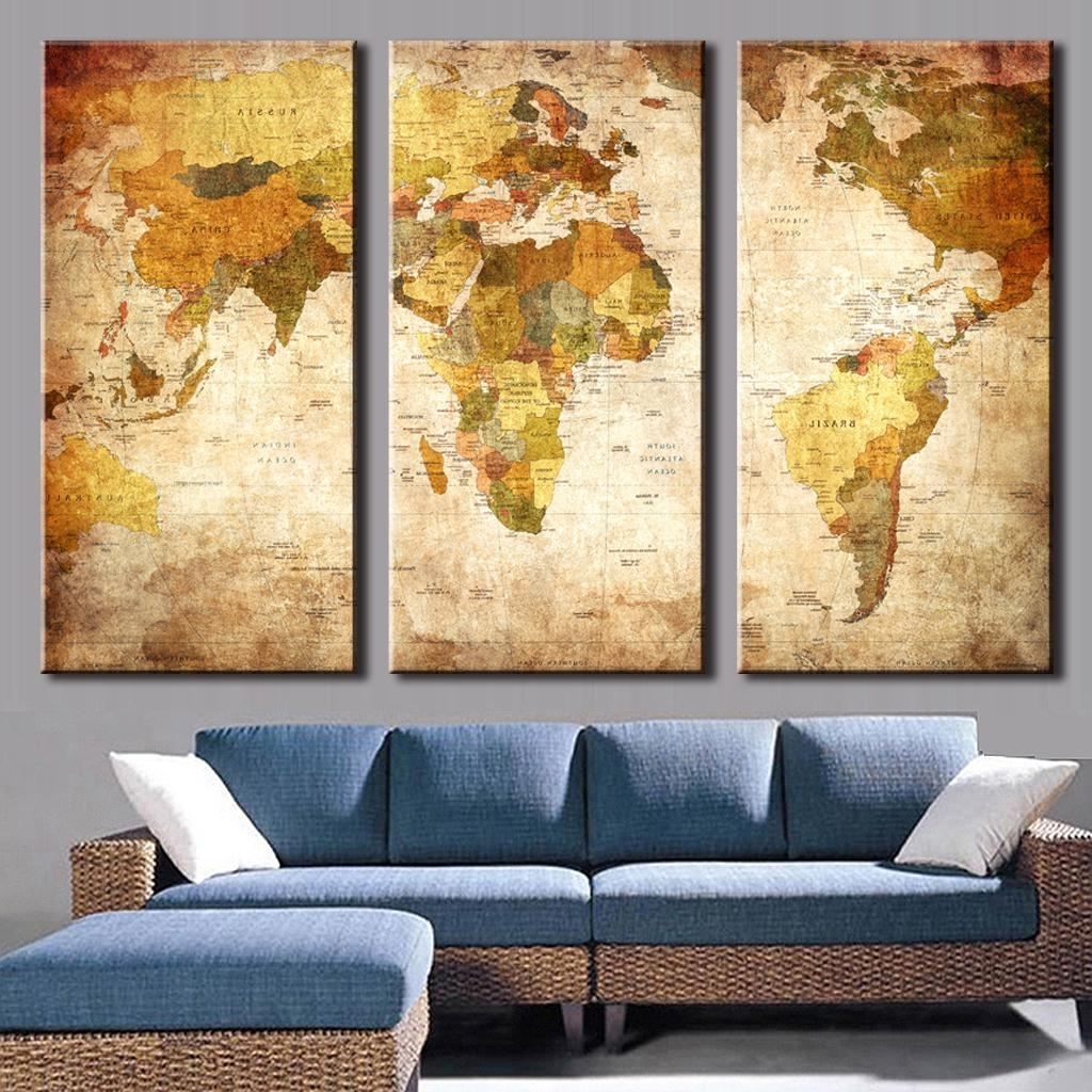 Most Popular World Map Wall Art Canvas Regarding 3 Pcs/set Vintage Painting Framed Canvas Wall Art Picture Classic (View 3 of 15)