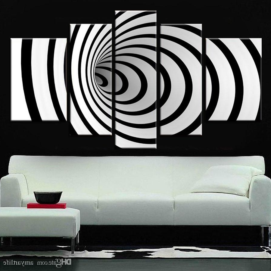 Most Recent 2018 Hand Painted Ideas Modern Canvas Art Picture Future Wall Art 3D Pertaining To Black And White Wall Art (View 9 of 15)