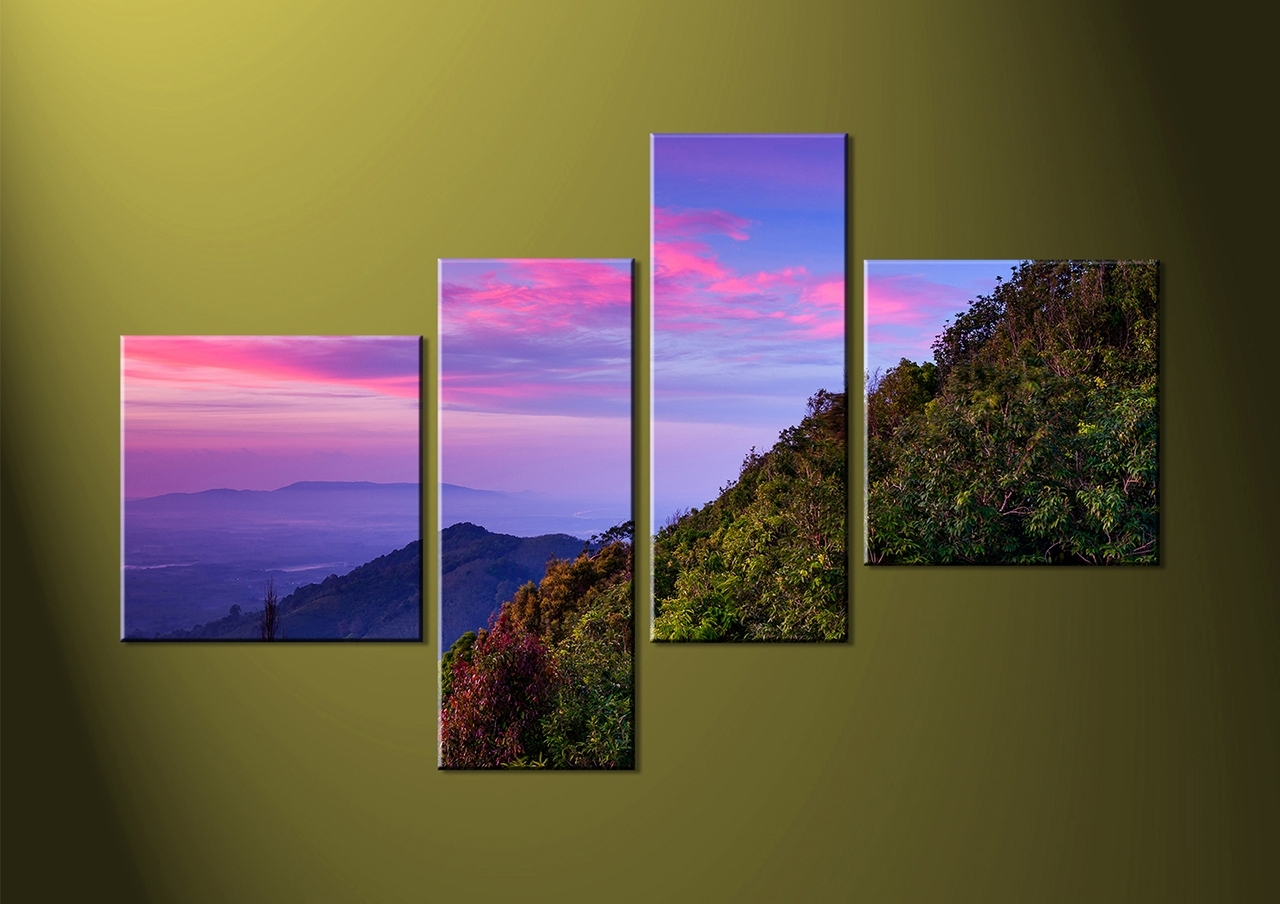 Most Recent 4 Piece Purple Canvas Green Landscape Wall Art, Purple Wall Art Inside 4 Piece Wall Art (View 10 of 15)