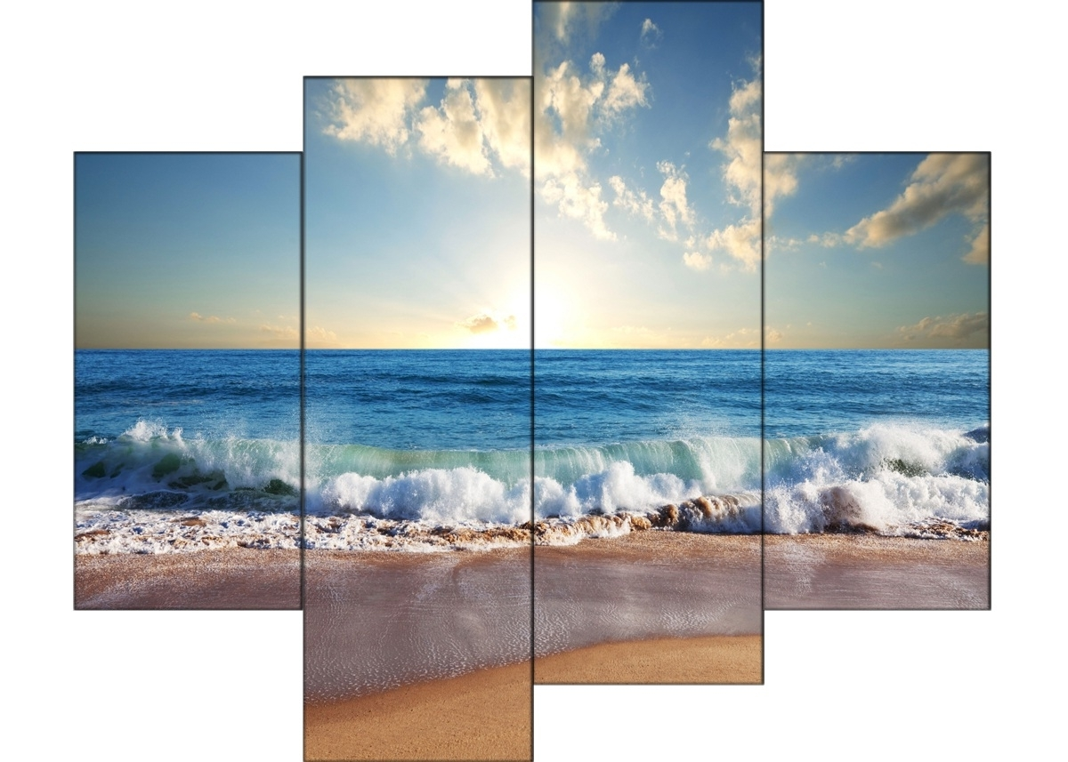 Most Recent 4 Piece Wall Art Inside 4 Piece Sandy Beach  Modern Canvas Art Wall Decor Landscape Canvas (View 6 of 15)